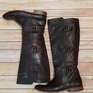 Frye brown triple buckle riding boots